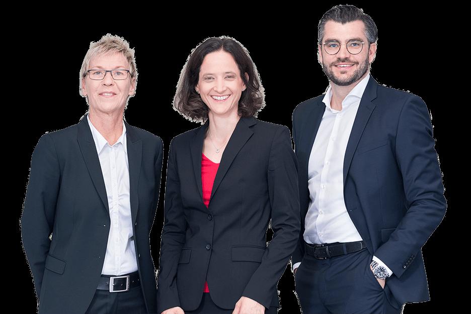 Die Geschäftsführung der Peterhoff Gebäudereinigung: Bettina Drews, Dr. Melanie Peterhoff und Simon Blatzheim